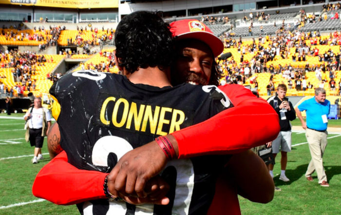 Eric Berry and James Conner Embrace After Week 2 Game (courtesy Arrowhead Pride)