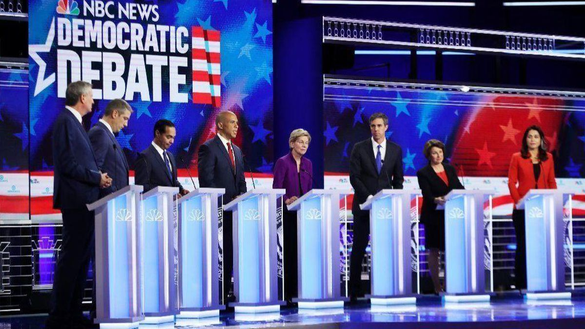 Eight of the Ten Democratic Presidential Hopefuls from Round One of the Democratic Presidential Debates (courtesy the LA Times)