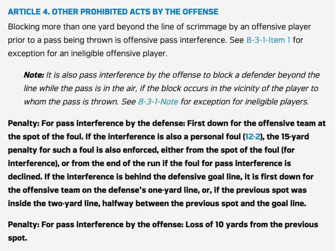 NFL Offensive Pass Interference