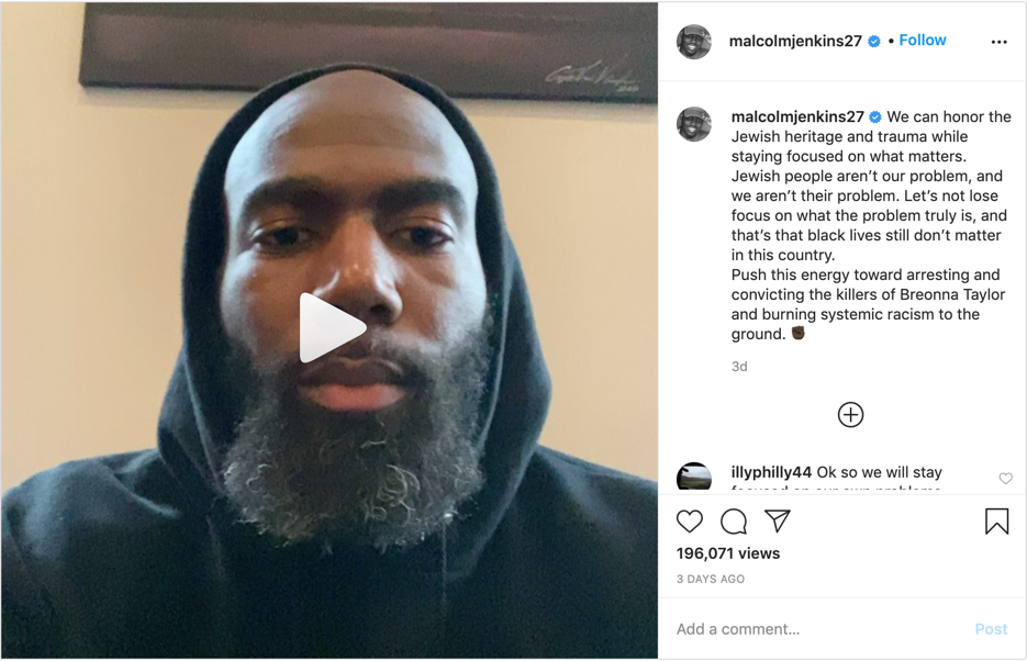 Malcom Jenkins Instagram Post from July 10th (Person Screen Grab)