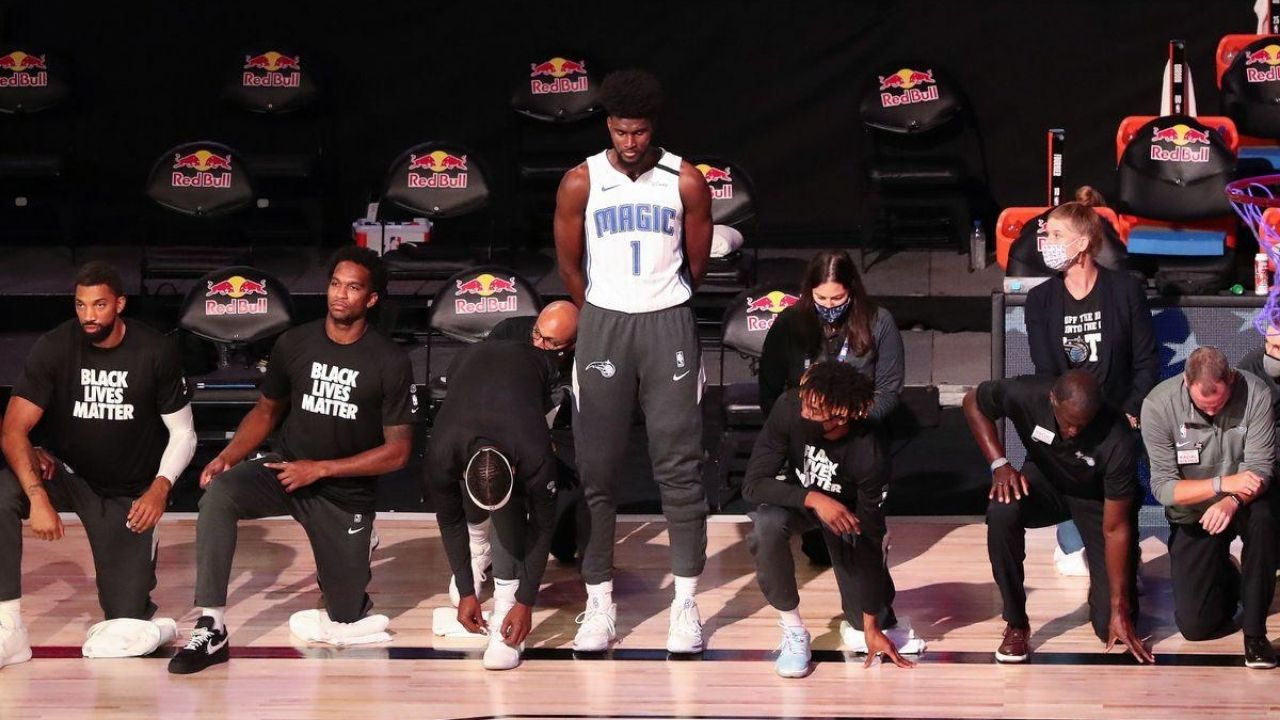 Jonathan Isaac of the Orlando Magic Not Kneeling During the National Anthem (picture courtesy The SportsRush)