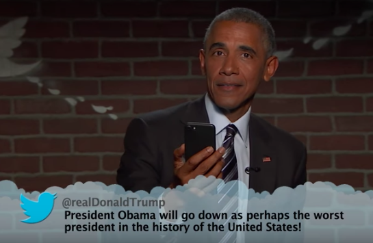 "Obama Reading a Donald Trump ""Mean Tweet"" on Jimmy Kimmel Live (screenshot via YouTube ""Jimmy Kimmel Live"")"