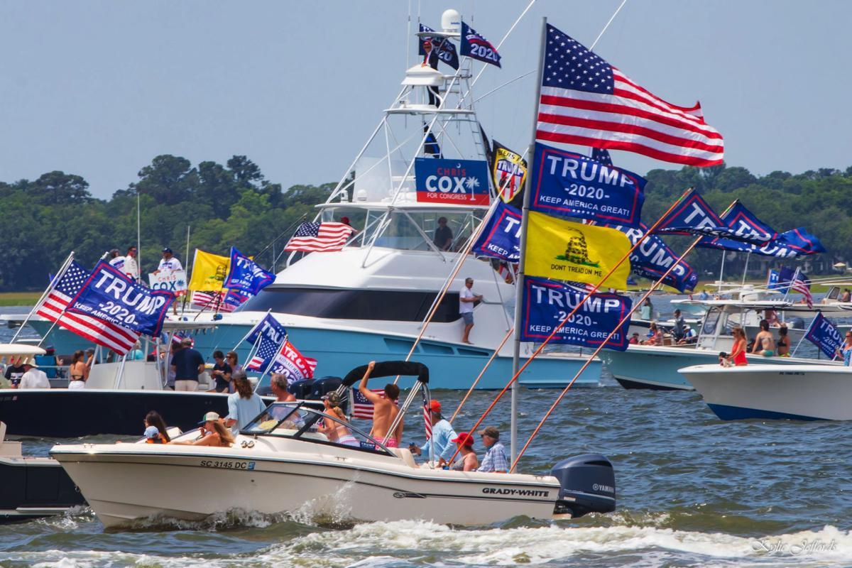 Hundreds of Trump supporters have taken to the water recently to show their support for Trump in what are known as Trump Boat Parades or Trumptillas (Picture courtesy the Post and Courier)