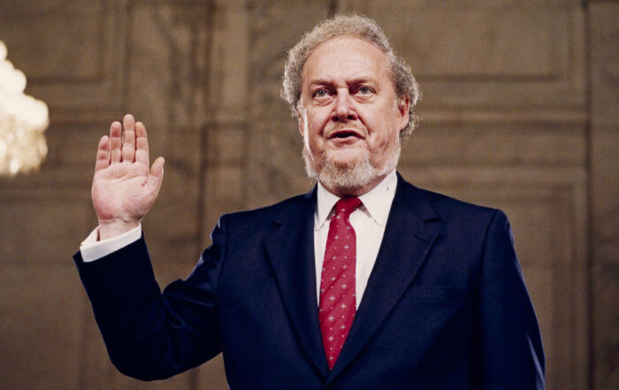 Robert Bork, nominated by President Reagan to the Supreme Court, is sworn in before the Senate Judiciary Committee at his confirmation hearing, Sept. 15, 1987. (Picture Courtesy NPR)
