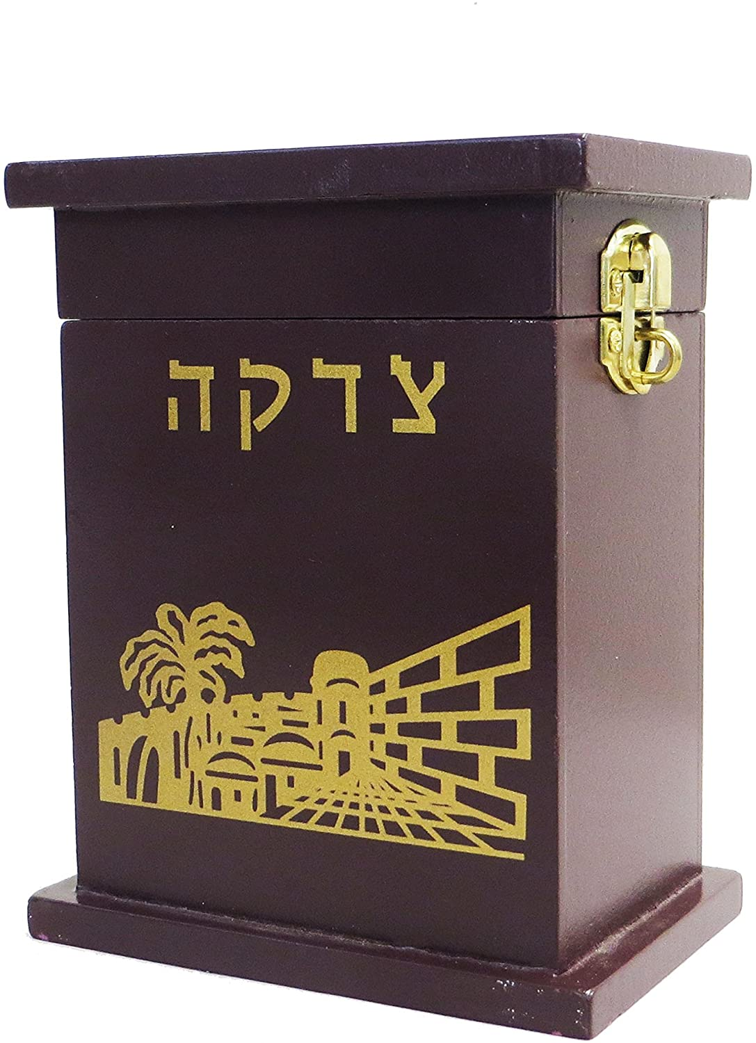 Tzedakah Box (from https://www.amazon.com/Rite-Lite-Enameled-Tzedakah-Mahogany/dp/B004R454W4)