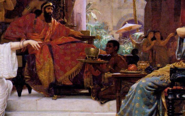 """Esther Denouncing Haman"" Ernest Normand, 1888"