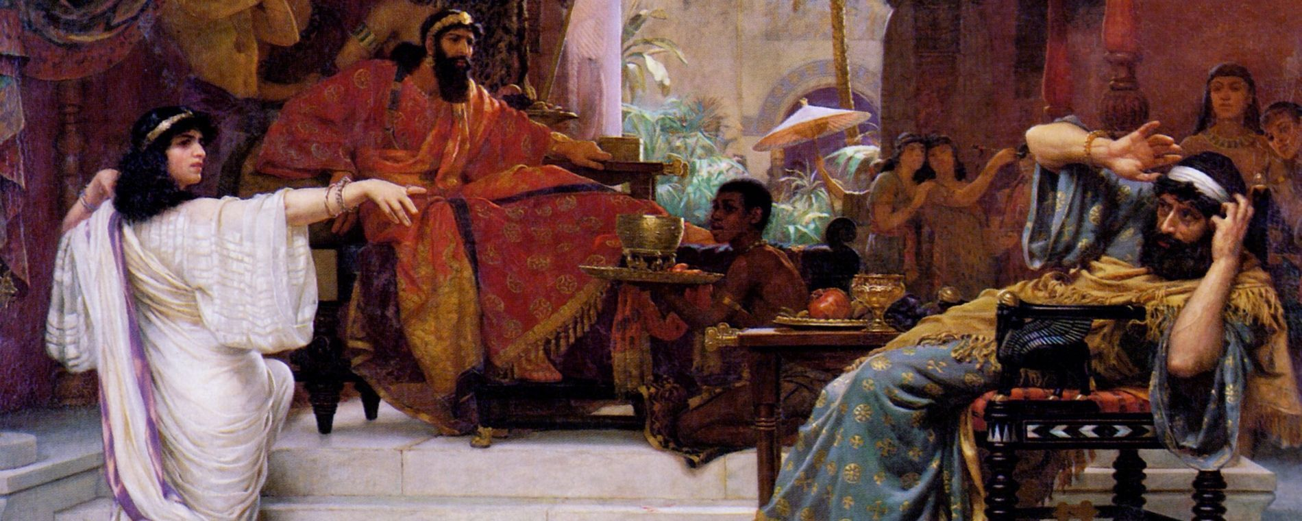 """Esther Denouncing Haman"" Ernest Normand, 1888"