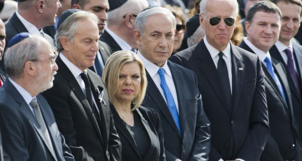 Joe Biden and Benjamin Netanyahu (US vice president Joe Biden, Israel's prime minister Benyamin Netanyahu and his wife Sara and former British prime minister Tony Blair at Israel's parliament on January 13th, 2014 in Jerusalem. Photograph: Michael Gottschalk/Photothek via Getty Images)