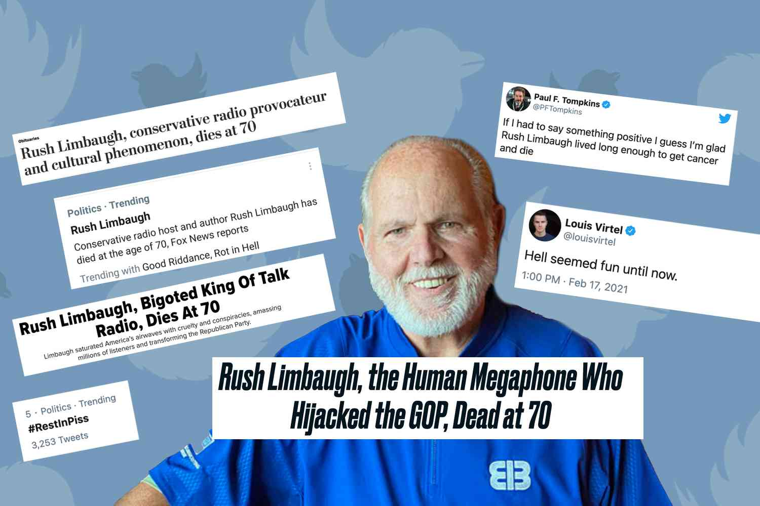 Rush Limbaugh Death Celebration (https://notthebee.com/article/the-tolerant-left-is-already-mocking-rush-limbaugh-after-his-death)