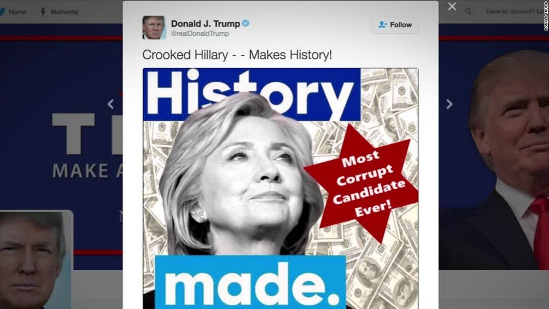 Trump's AntiSemitc Tweet About Hillary Clinton (https://www.cnn.com/2016/07/02/politics/donald-trump-tweet-graphic-star-hillary-clinton/index.html)