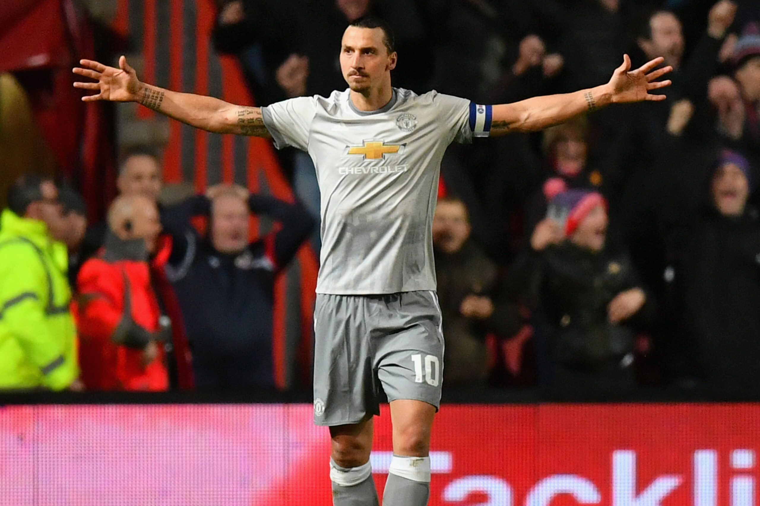 BRISTOL, ENGLAND - DECEMBER 20: Zlatan Ibrahimovic of Manchester United celebrates after scoring his sides first goal during the Carabao Cup Quarter-Final match between Bristol City and Manchester United at Ashton Gate on December 20, 2017 in Bristol, England. (Photo by Dan Mullan/Getty Images)