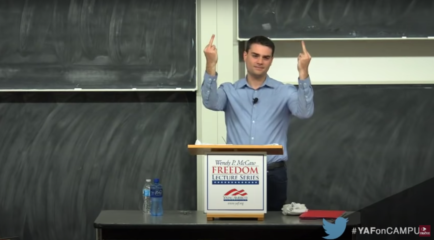Ben Shapiro Double Birds Wisconsin Heckler's Veto Users (From YAF lecture on YouTube: https://youtu.be/xSoTX8xzqDI)