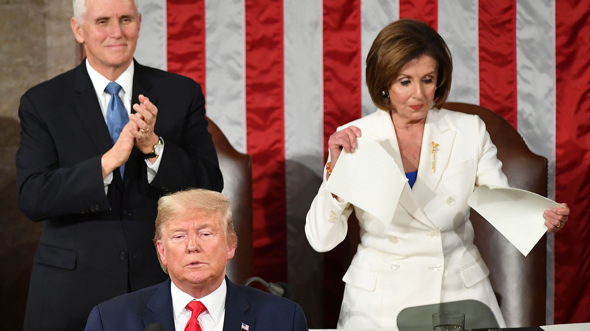 Nancy Pelosi Rips SOTU (Speaker of the House Nancy Pelosi rips up her copy of President Trump's State of the Union speech after Trump's remarks on Tuesday. Americans tend to fault the other side while giving their own partisans a pass for such actions, write Associate Professor Sarah E. Croco and undergraduate Jacob Silverman. (Mandel Ngan/AFP/Getty Images)