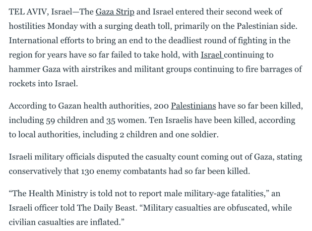 """Neri Zilber's """"Militant Groups"""" (https://www.thedailybeast.com/israeli-officials-dispute-death-toll-in-gaza-amid-onslaught)"""