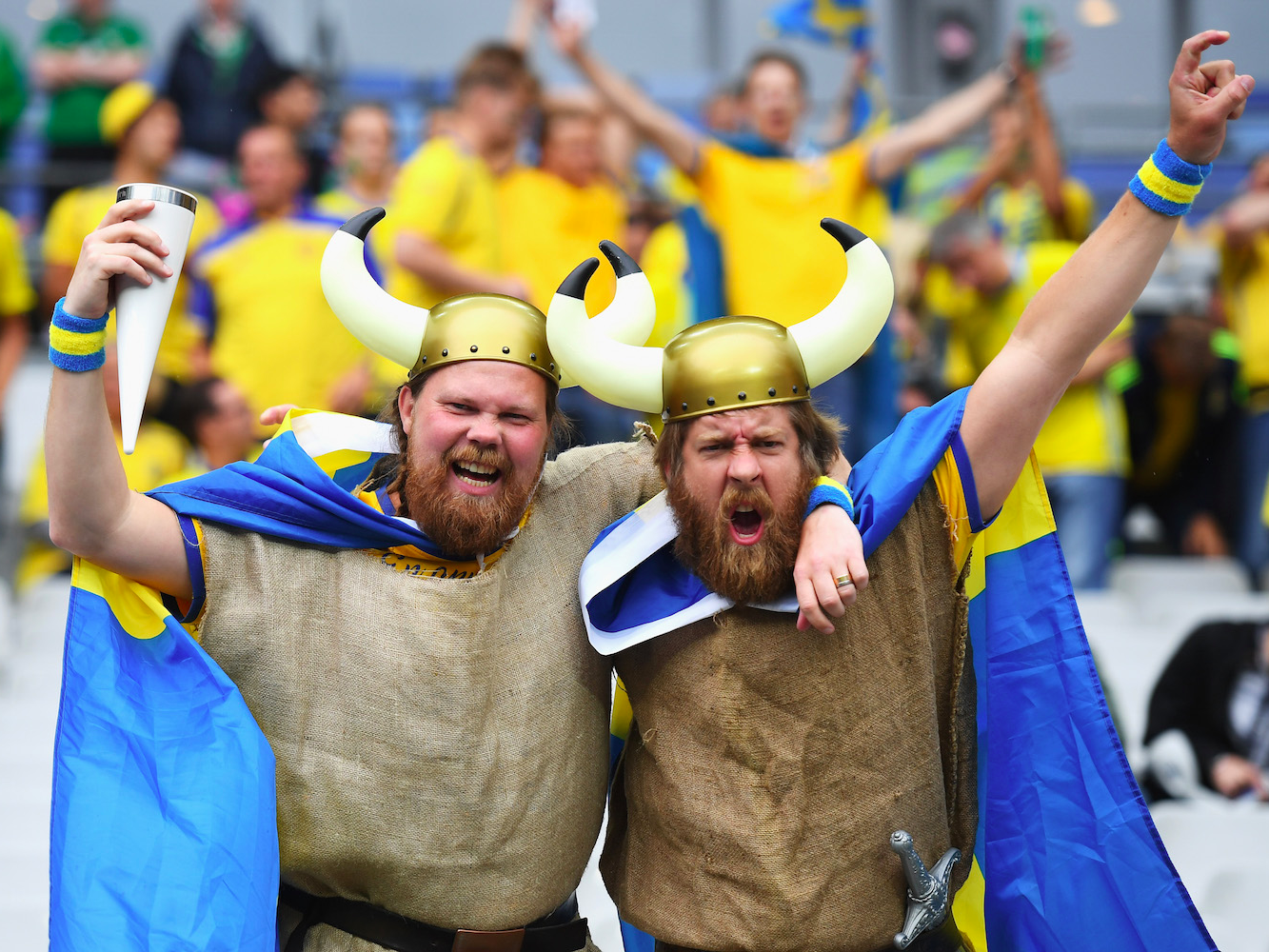 Happy Swedes (Sweden supporters enjoy the atmosphere prior to the UEFA EURO 2016 Group E match between Republic of Ireland and Sweden at Stade de France on June 13, 2016 in Paris, France. Matthias Hangst/Getty Images)
