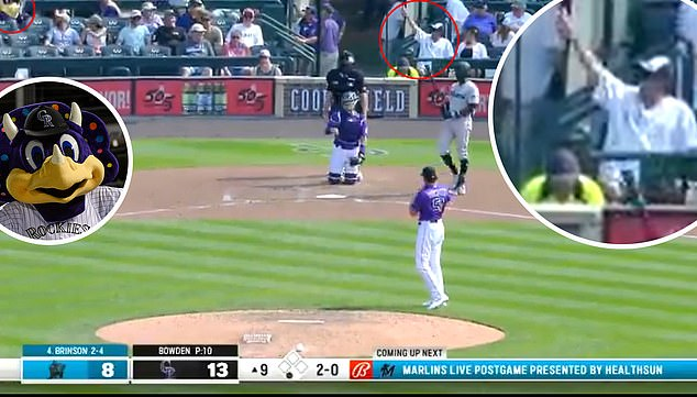 Fan Yelling Dinger (from: https://www.cbssports.com/mlb/news/rockies-say-fan-was-yelling-name-of-mascot-not-racial-slur-at-marlins-lewis-brinson/