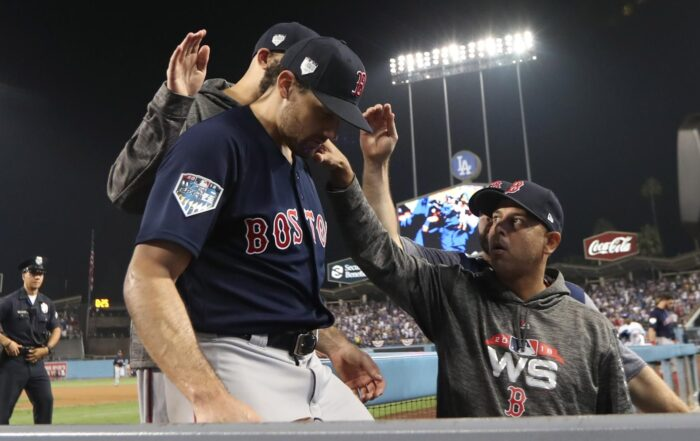 Nathan Eovaldi World Series Appearance Proves He Should be the Red Sox Wild Card Starter (Los Angeles, CA - 10/26/2018 - Nathan Eovaldi after Max Muncy hits game winning home run in the eighteenth inning in Game 3 of the World Series. The Los Angeles Dodgers host the Boston Red Sox in Game 3 of the World Series at Dodger Stadium. (Jim Davis/Globe staff)