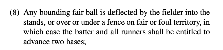 Rule 5.05(a)(8) The Inadvertent Ground Rule Double